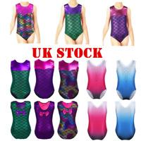 UK Girls Kids Ballet Dance Leotard Mermaid Jumpsuit Gymnastics Unitard Dancewear