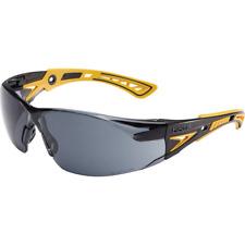 Bolle Rush Plus Small Safety Glasses Black/Yellow Temples Smoke Anti-Fog Lens