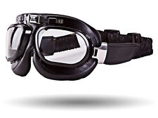 IV2 Black PU-Leather Motorcycle Goggles | AntiScratch, 100%UV, Helmet Compatible