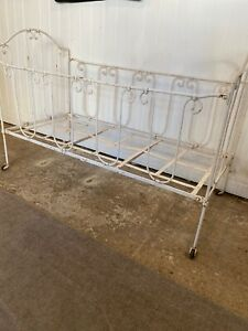 Vintage French Cast Iron White Day Bed/ Childs Cot Cream