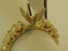 Heart Shape & Engrave Style Semi Mount  Diamond RIing14K Solid Yellow Gold