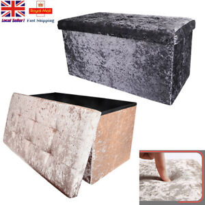 Bedroom 2 Seater Crushed Velvet Ottoman Double Storage Bin Box Bed Foot Stool UK
