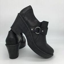 Born Womens Ravenna Clog Shoes Block Heels Black Slip On Round Toe 7.5 M