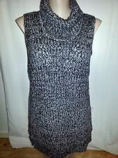 Crossroads grey black CHUNKY winter knit cowl neck JUMPER tunic TOP size 16 NEW