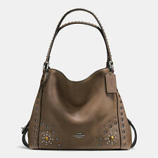 NWT❤️$450 COACH Leather Western Rivets Edie 31 Shoulder Bag Fatigue Brown 57660