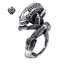 Silver Requiem Alien Warrior ring stainless steel band 3D
