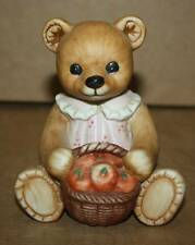 Homco Bear Female w/ Basket Of Apples Figurine #1405