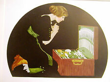 Coles Phillips FADEAWAY GIRL LOOKING at SILVER CHEST 1912 Antique Print Matted
