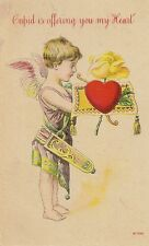 CARTE POSTALE POST CARD FANTAISIE CUPID IS OFFERING YOU MY HEART