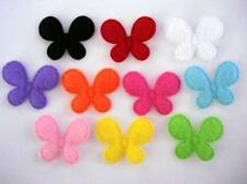 "100 Basic Small 1"" Butterfly Applique/plain/10 colors/trim/padded/bow H97-Felt"