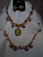 OOAK Vintage Bohemian Glass Set - Bees - Necklace, Bracelet, Earrings