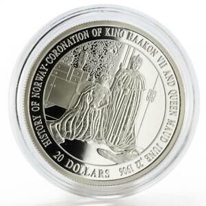 Liberia 20 dollars History of Norway series King Haakon VII silver coin 2000