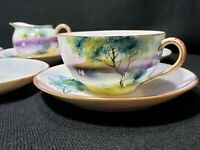 Antique Noritake Morimura (9) PC Hand Painted Moriage Set- Cups/Saucers/Creamer