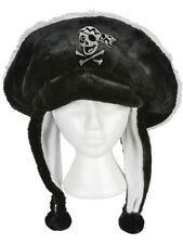 Black Plush Pirate Hat Skull And Crossbones Ear Cover Flaps Costume Accessory