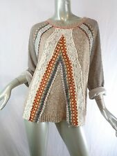 Gimmicks by BKE Buckle Chiffon & Lace French Terry Mixed Marled Sweater Sz M