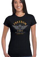 Freedom Vintage Series Womens Biker T-Shirt Motorbike Indian Motorcycle