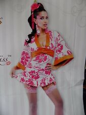 NEW Woman's French Kiss Geisha Dress Med 8-10 Kimono Japanese Sexy Costume FAST