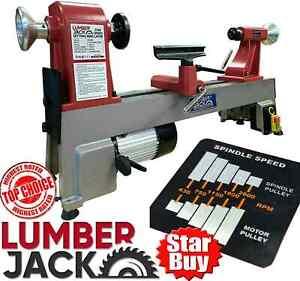 Heavy Duty Woodturning Lathe Cast Iron Bed 5 Speed 230V Lumberjack Bench Top