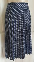 M&S NAVY MIX  FLORAL PRINT A-LINE KNEE LENGTH PLEATED SKIRT SIZE 16-18 LONG BNWT