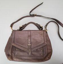 TORY BURCH Taupe Leather Shoulder Crossbody Bag Medium Satchel Purse