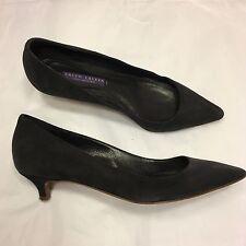 RALPH LAUREN Purple Label navy blue suede kitten heel courts 7 B / 37 / UK 7