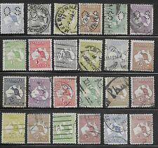 Australia Kangaroos 1913-35 Selection 24 stamps to 2 Shillings Used