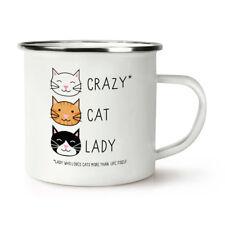Crazy Gato Dama Retro Esmalte Taza Taza-Divertido Gatito