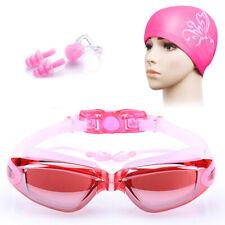 1 Set Uv Anti-Fog Swimming Goggles Swim Cap Ear Plug Nose Clip Adult Unisex Rs