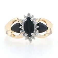 Yellow Gold Sapphire & Diamond Halo Ring - 10k Marquise & Pear 1.85ctw