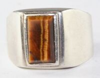 VTG MENS MEXICAN STERLING SILVER TIGERS EYE RING SIZE 10