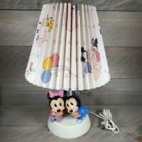 Vintage Mickey and Minnie Mouse Disney Lamp Nightlight 1984 Original Shade Baby