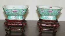 Pair of Antique Chinese Republic Famille Rose Peach Bowls on Custom Wood Stands