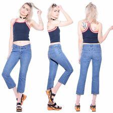 Vtg 90s ESPRIT Light Blue Denim Flared Grunge Cropped Short Pants Jeans Capris S