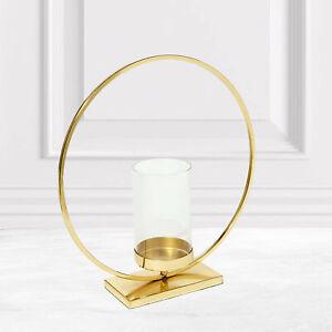 Gold Metal Tealight Holder Loop Candle Holder Circle Aluminium Glass Ring Shape