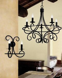 Suspended Lights Classic Wrought Iron Black Antiqued