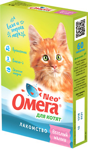 Cat Treats «Omega Neo» for kittens with taurin, Prebiotic, Omega-3 60 tab Russia
