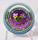 Beautiful PERTHSHIRE Colorful PANSY FLOWERS in a BASKET Art Glass PAPERWEIGHT