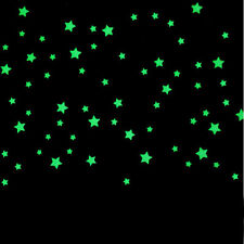 100PC Chilren Bedroom Decal Fluorescent Glow In The Dark Stars Wall Stickers New