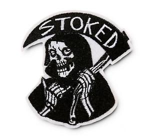 Stoked Grim Reaper Iron-On Patch: Skeleton Skull Death Shaka Surfer Skater Punk
