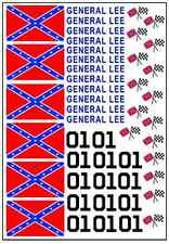 1/64, 1/87 - DECALS FOR HOT WHEELS, MATCHBOX, SLOT CAR: GENERAL LEE