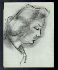 D18 - Dessin d'Etude au crayon - Portrait Femme - vers 1950