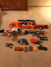 LOT of 8 Nerf Guns, 2 stands, and 5 magazines