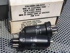 NOS 1958 Pair (2) RCA JAN CRC 6K8 Vacuum Tubes