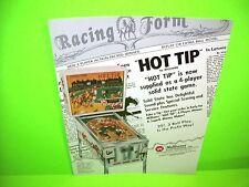 Williams HOT TIP Original 1977 Flipper Game Pinball Machine Flyer RARE Version
