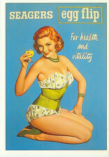 "SEAGERS EGG FLIP-FOR HEALTH & VITALITY-1950'S PIN UP WOMAN-REPRO-4""X6""(DV-325*)"