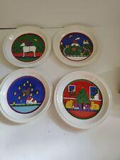 "Houze Staffordshire Christmas Plates Set Of 4 Holiday 1985 England Dessert 8"""