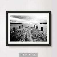 BLACK WHITE PIER SEA OCEAN Art Print Poster Photograph A4 A3 A2 Pictures Wall