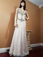 Stunning Ivory Lace Stoned & Beaded Boned Scalloped Bustier Evening Gown, US 6