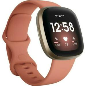 New Fitbit Versa 3 Health & Fitness Smartwatch GPS Soft Gold Case Pink Band