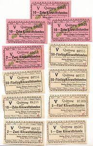 Jeu Recettes 2 & 10 Kilowattstunden Courant Elektr. Werk Lungwitz À 1925 ! (D4